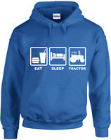 Eat Sleep Tractor, Farming inspired Printed Hoodie UK Jumper Hooded Sweatshirt