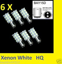 6X 1157 BAY15D  Xenon White 5050 27-SMD LED Tail Brake Stop Light 7528 2057 2357