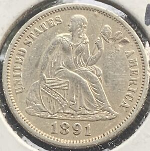 1891 Mint Silver Seated Liberty Dime Fine # 1154