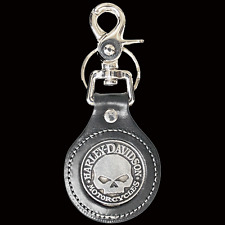 HARLEY DAVIDSON WILLIE G SKULL LEATHER KEY CHAIN FOB
