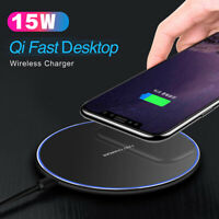 Metal 15W Qi Wireless Charger Pad Mat For Samsung S10 S9 Note 10 9 iPhone 8 X XS
