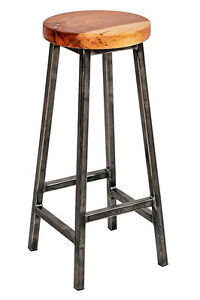 'Charlie Elmsworth' Chunky Square Frame Bar Stool with Chunky Elm Seat
