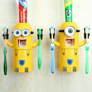 Kids Bathroom Cartoon Automatic Toothpaste Dispenser Squeezers Toothbrush Holder