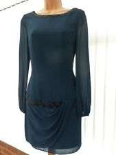 COAST NAVY BLUE SHEER CHIFFON DRAPED BEAD 20'S FLAPPER SHIFT DRESS 8 ONCE £135