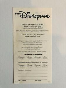 Euro Disneyland - Avis sur Service Restaurant - 1992 - Disney Flyer Guide