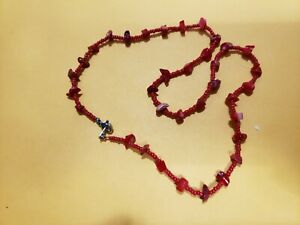 "COLLECTABLE,HAND MADE GENUINE CORAL NECKLACE- 18"" Long, USA"