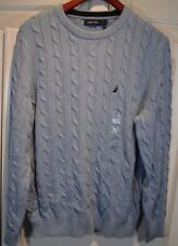 Nautica ~ Womens Cable Knit Crewneck Fishermens Sweater Powder Blue LARGE L NWT