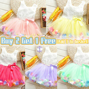 Baby Girls Toddler Princess Dress Party Tutu Dress Bow Pageant Flower Dresses US