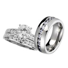 Engagement Cz Sterling Silver Titanium Set Dp His and Hers Wedding Rings 3 pcs