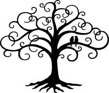 "Love Bird Swirled Tree of Life 24"" tall Black Metal Wall Art Decor by HGMW"