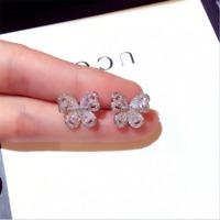 Cute Shiny White Topaz Butterfly Stud Earrings 925 Silver Wedding Jewelry Gifts