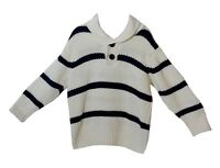 Boys H&M White Blue Stripe Chunky Knit Collared Jumper Age 3-4