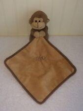 "Fao Schwartz Monkey Baby Blanket Brown Plush Security Lovey 6"""