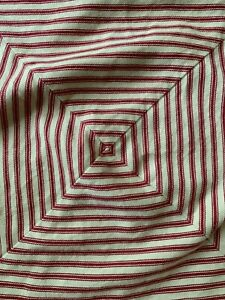 "Ralph Lauren Red & Cream Striped Square Button Closure Pillow Case Covers 18"""