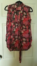 Miss Selfridge size 12 sleeveless floral blouse in red