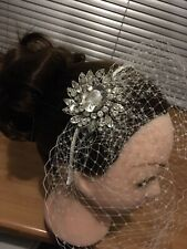 Bird Cage Veil~IVORY~French Net Wedding Veil on Alice Band With Diamanté *NEW*