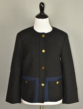 H&M Women's Black Blue Colorblock Button Front Blazer Jacket Size 6