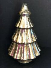 "SILVER MERCURY GLASS LED LIGHTED CHRISTMAS TREE.   9"" TALL.  BEAUTIFUL!"