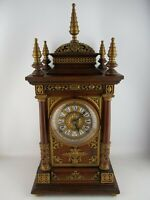 1896 Ansonia Cabinet Antique Model Mantel Clock, Wood and Brass, 8-Day GORGEOUS!