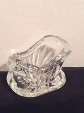 Lead Crystal Glass Christmas Sleigh Candy Dish Elongated Thumbprint Cut