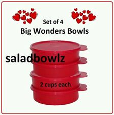 TUPPERWARE BIG WONDERS 4-Bowl Set 2 cup Wonder Bowls Cereal Snacks Red fREEsHIP!