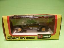 BBURAGO 9106 PEUGEOT 205 TURBO - DARK GREY 1:24 - VERY GOOD IN BOX