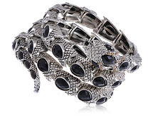 Silver Onyx Coiling Serpent Bracelet Rhinestone Accented Head Punk Bangle Cuff