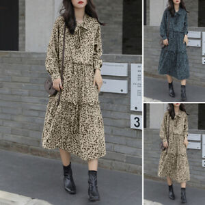 ZANZEA UK Women Long Sleeve Tiered Midi Dress Neck Tie Bow Leopard Printed Dress