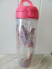 Tervis Initial M Flowers 24 ounce Water Bottle Tumbler with Pink Travel Lid New