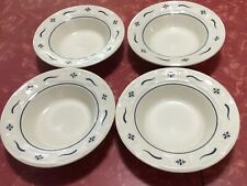 4 Longaberger Woven Traditions Pottery Blue Rimmed Fruit Dessert Bowl 6 5/8""