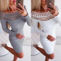 Women Knitted Bodycon Jumper Dress Lady Winter Long Sleeve Sweater Tops Dress US