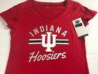 Indiana Hoosiers T-Shirt Womens SZ S/M V-Neck Silver Letters Student Alumni Grad
