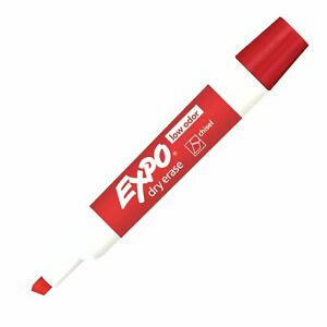 80002 Expo Low Odor Dry Erase Whiteboard Marker, Chisel Tip, Red, Pack of 8