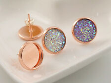 12mm 20pcs Rose Gold Plated Earring Studs Blank/Base