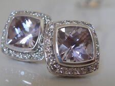 $1200 DAVID YURMAN,SS PETITE ALBION LAVENDER AMETHYST DIAMOND EARRINGS