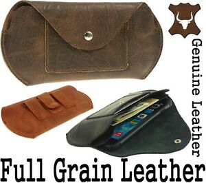 NEVADA 2 POCKETS GENUINE LEATHER BELT POUCH WITH CARD POCKET FOR MOBILE PHONES