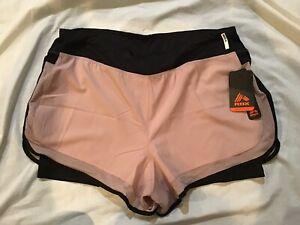 Reebox Women Training Shorts Quick Drying  Pink/Black Large MSRP $48