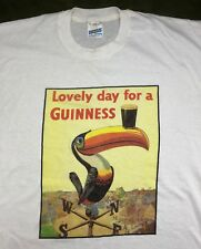 Vintage Mens Xl 80s 90s Guinness Beer Lovely Day Toucan Mascot Alcohol T-Shirt