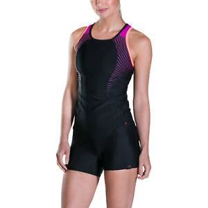Speedo Womens Pro Tankini Top Shorts Swimming Swimsuit Costume - Black