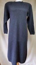 Vintage St John Sweater Dress Sheath Sz 4 S Solid Gray-Blue Soft Knit 3/4 Sleeve
