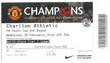 Football Ticket>MAN UTD v CHARLTON ATHLETIC Feb 2012 FA Youth Cup