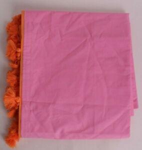 Pottery Barn PB Teen *sample* Color On Color Tassel shower curtain, pink orange