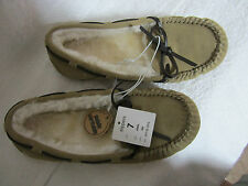 New - Women's Tan Fur Lined Chaia Suede Moccasin Slippers - NEW Size 7