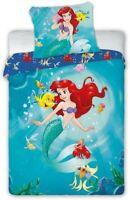 Mermaid Ariel With Fish Set Bed Duvet Cover 100x135cm Cotton Original FARO