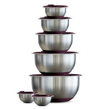 Tramontina 14-Piece Covered Stainless-Steel Mixing Bowl Set Purple - NEW