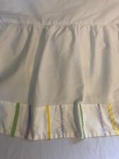 Pottery Barn Kids Girls Twin Bed Skirt White Green Purple Yellow Blue Ribbon