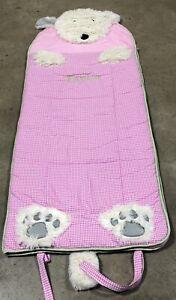 "Pottery Barn Kids Shaggy Head Puppy Dog Pink Gingham Sleeping Bag ""Taylor"""