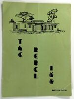 1953 Original Vintage Menu THE REBEL INN Restaurant Baytown Texas
