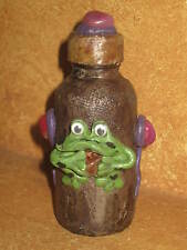 Decorative Small Bottle Screw Top Lid Made in Peru Peruvian Handmade Clay Frog
