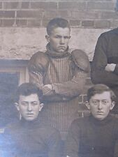 ANTIQUE AMERICAN FOOTBALL COLLEGE UNUSUAL SHOULDER PADS YOUNG MEN OLD RPPC PHOTO